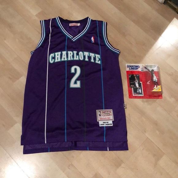 wholesale dealer 02339 0e47a Charlotte Hornets Larry Johnson Throwback Jersey L